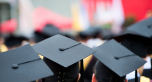 commencement - mortarboards
