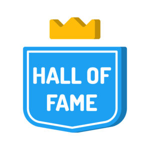 Hall of fame. Blue badge with crown icon.