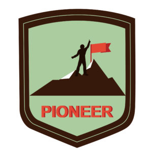 illustration pioneer climber on a mountain top