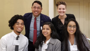(Back row) Dr. Erwin Cabrera and Dr. Erica Jayne Friedman (Front row, L-R) Seiji Clark, Tonuza Ahmed, Heamily Singh