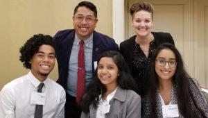 (Back row) Dr. Erwin Cabrera and Dr. Erica Jayne Friedman (Front row, L-R) Seiji Clark, Tonuza Ahmed, Heamily Singh