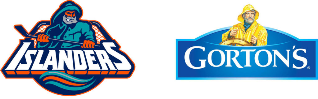 (L) NY Islanders logo. (R) Gorton's Fisherman logo