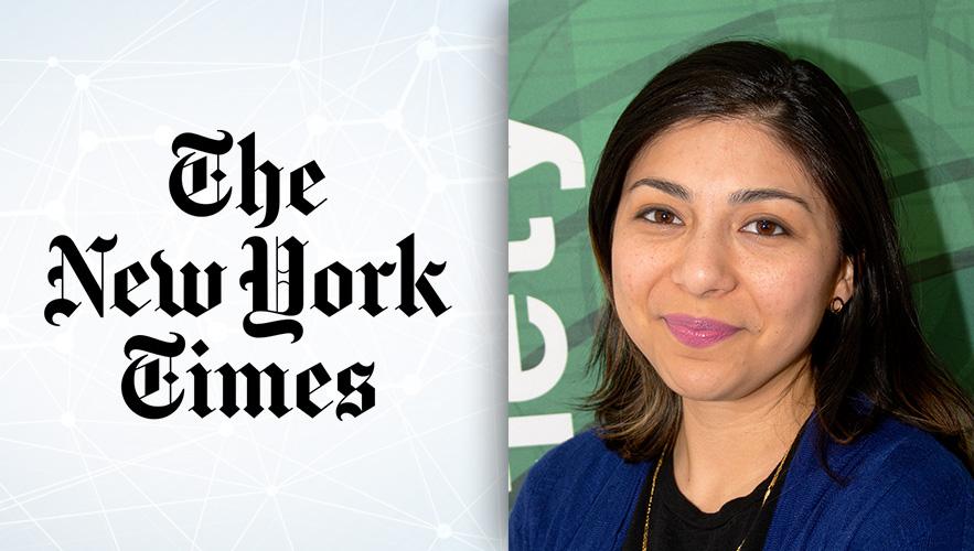 NY Times logo and Candice Retas