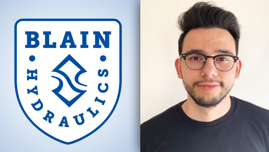 Blain Hydraulics logo and Juan Garces