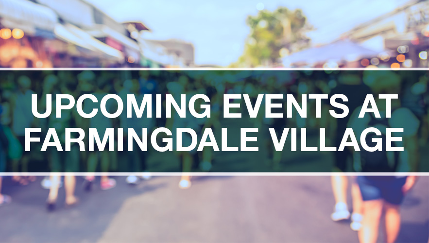 sign about events in Farmingdale Village