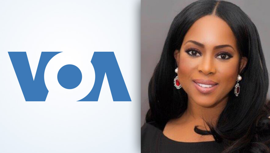 Voice of America logo and Dr. Yetunde Odugbesan-Omede