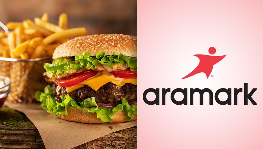 photo of hamburger and Aramark logo
