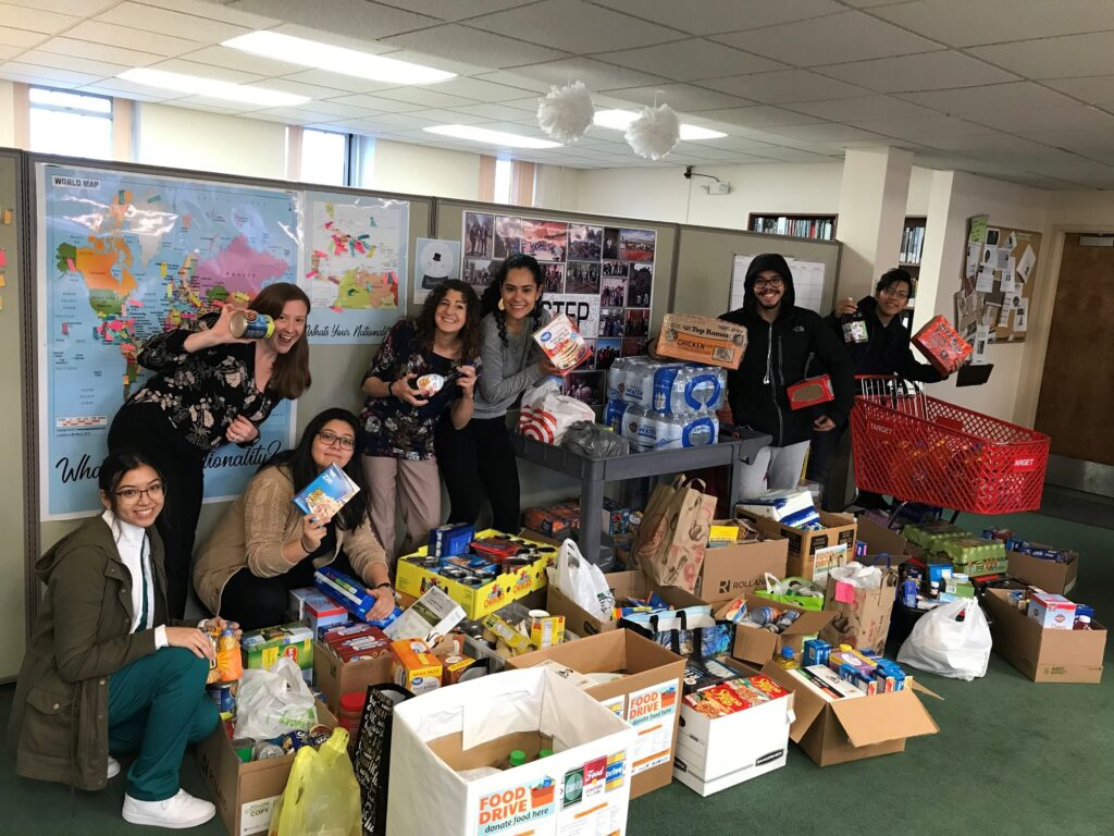 Sonia Chemerisov and students at food drive