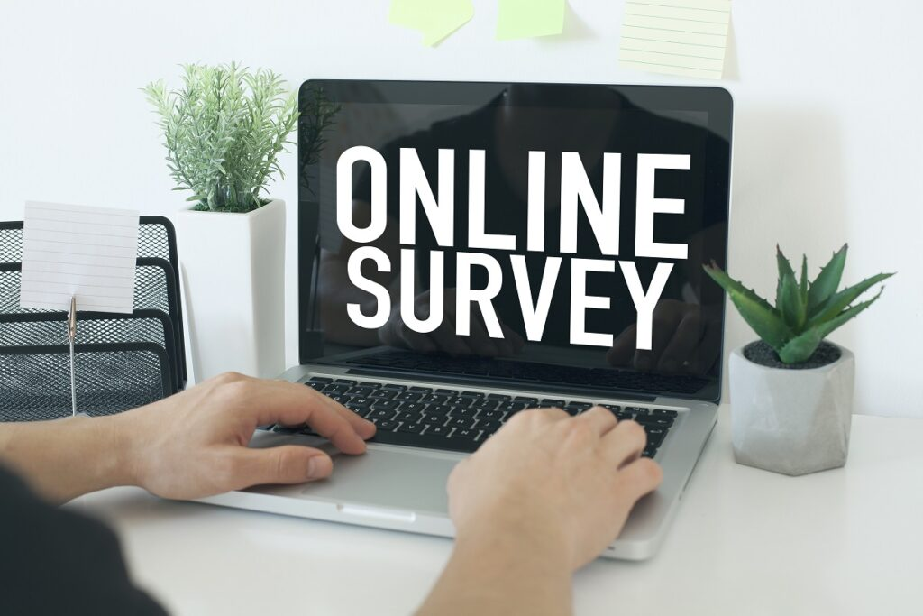 laptop with online survey on screen
