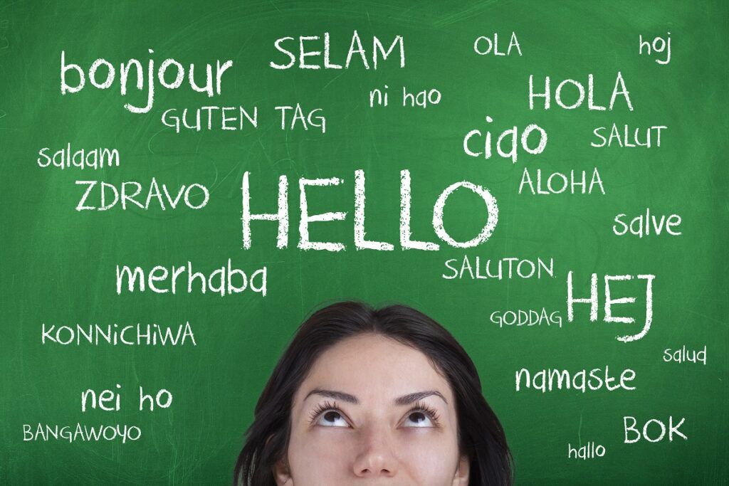 Woman looking at different ways to say hello