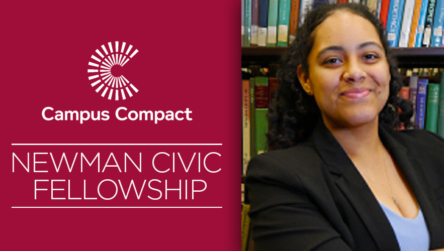 Image for Newman Civic Fellow Thanks Parents for Sending Her to College.