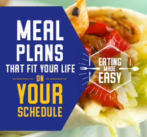 """Picture of gyro in background with text """"Meal plans that fit your life on your schedule. Eating made easy""""."""