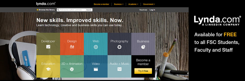 Front page of Lynda website.