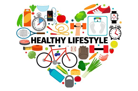 "Collage images associated with a healthy lifestyle inside heart shape with text ""Healthy lifestyle"" in the middle."