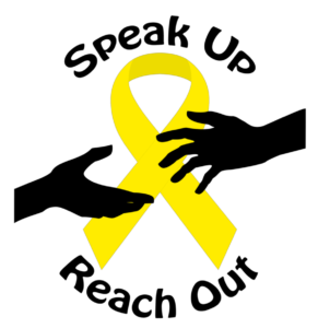 "Yellow ribbon with text ""Speak up"" above it and ""Reach out"" below it."