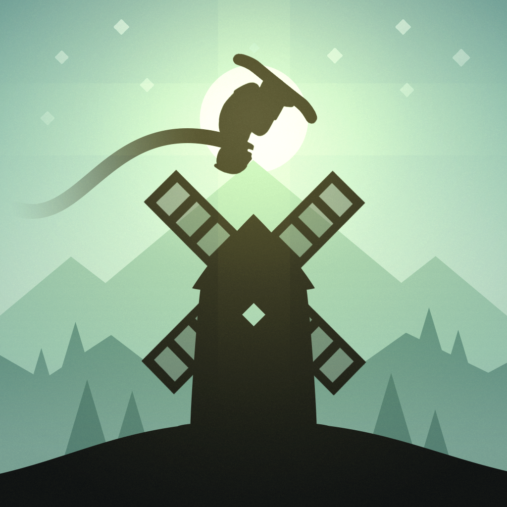 Cartoon image of skier doing a flip over a windmill.