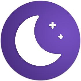 App logo with moon and two stars.