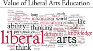 Value of liberal arts education and collage of words associated with it.