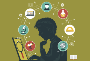 Animated image of student looking at computer and subject images in circles around his head.