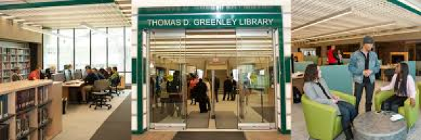 Veiws of entrance, computer lab area, and sitting areas at Thomas Greenley Library.