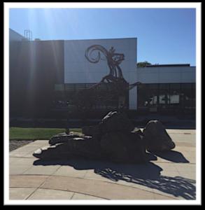 Farmingdale State College ram statue.