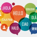 "Collage of words of the word ""Hello"" in different languages."