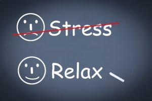 Sad face stress, Happy face relax.