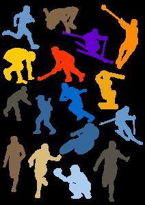 cartoon of people doing activities