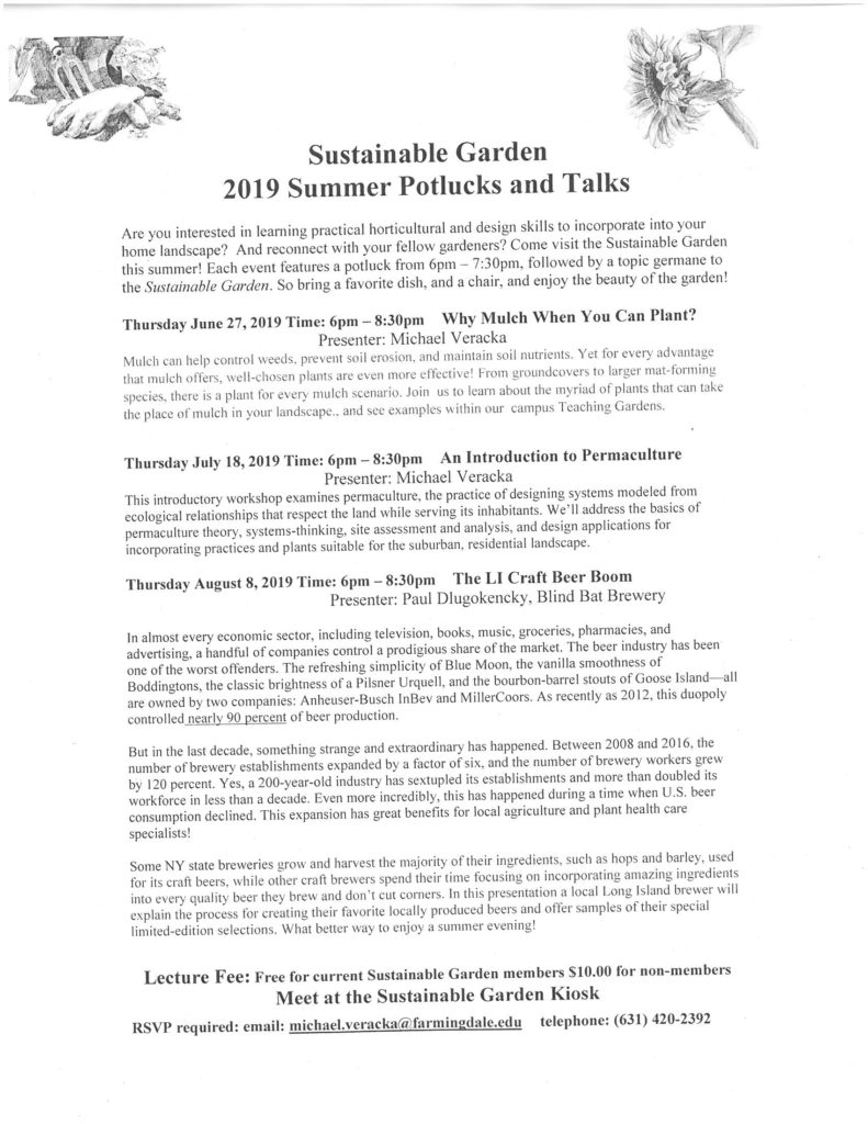 Sustainable Garden summer 2019 workshops